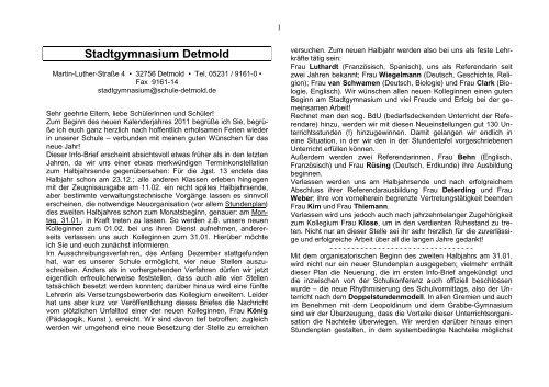 Info Brief 01 2011 Stadtgymnasium Detmold