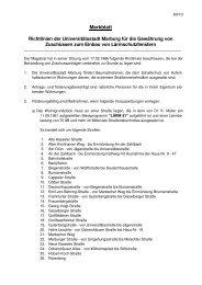 Richtlinien der Universitätsstadt Marburg für die Gewährung von