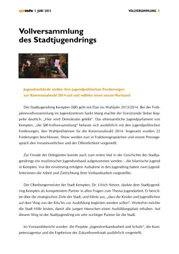 Vollversammlung des Stadtjugendrings - Stadtjugendring Kempten