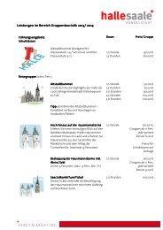 Preise Führungen - Stadtmarketing Halle