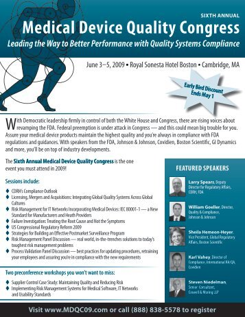 Sixth Annual Medical Device Quality Congress - FDAnews