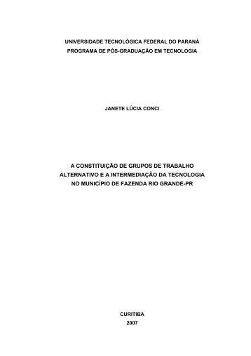 a constituição de grupos de trabalho alternativo ea ... - UTFPR