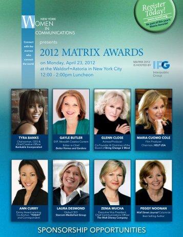 2012 MATRIX AWARDS - New York Women in Communications, Inc.