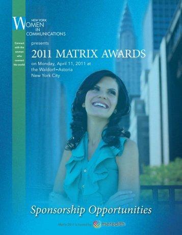 2011 MATRIX AWARDS - New York Women in Communications, Inc.