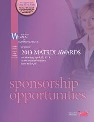 2013 MATRIX AWARDS - New York Women in Communications, Inc.