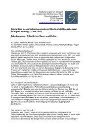 Öffentlicher Raum und Kultur - Stadtplanungsforum Stuttgart