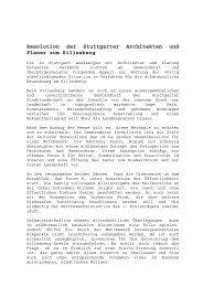 Resolution der Stuttgarter Architekten und Planer zum Killesberg