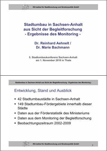 Ergebnisse des Monitoring - Stadtumbau Sachsen-Anhalt