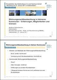 Wohnungsmarktbeobachtung in kleineren Kommunen - Stadtumbau ...