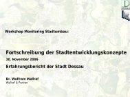 Erfahrungsbericht der Stadt Dessau - Stadtumbau Sachsen-Anhalt