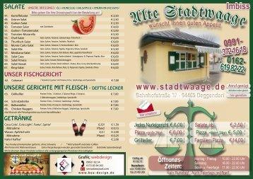 Speisekarte - Alte Stadtwaage Deggendorf