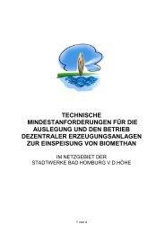 Technische Mindestanforderungen für die Einspeisung von Biomethan