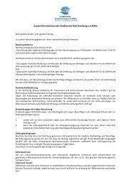 Zusatzinformationen der SWHG - Stadtwerke Bad Homburg