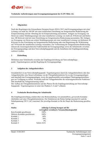 Technische Anforderungen zum Erzeugungsmanagement - E.ON Mitte