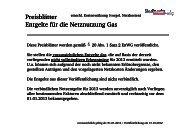 Preisblätter Entgelte für die Netznutzung Gas - Stadtwerke Bliestal