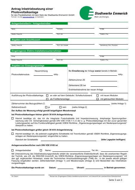 Antrag Inbetriebsetzung einer Photovoltaikanlage - Stadtwerke ...