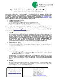 Allgemeine Informationen zur Errichtung einer Photovoltaik-Anlage