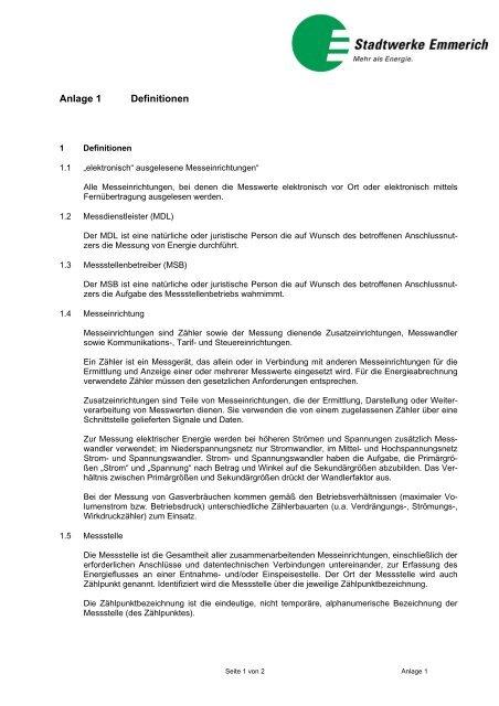 Anlage 1 Definitionen - Stadtwerke Emmerich