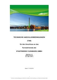 TECHNISCHE ANSCHLUSSBEDINGUNGEN - Stadtwerke Flensburg
