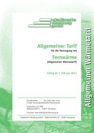 Allgemeiner Fernwärmetarif (Stand: 1. Februar 2011) - Stadtwerke ...
