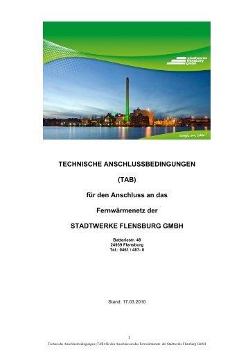 TECHNISCHE ANSCHLUSSBEDINGUNGEN (TAB) - Stadtwerke ...
