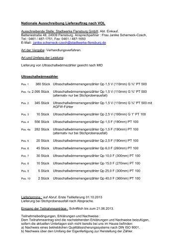Nationale Ausschreibung Lieferauftrag nach VOL/A SKR 4