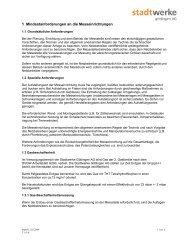 Mindestanforderung an die Messtechnik - Stadtwerke Göttingen AG