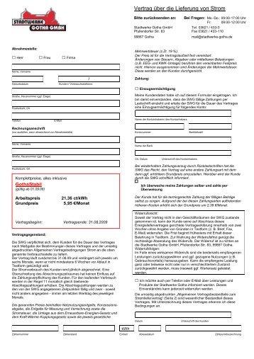 Vertrag über die Lieferung von Strom - Stadtwerke Gotha