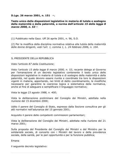 legge 151 del 2001