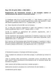 Reg. (CE) 29 aprile 2004, n. 883/2004 (1 ... - ClicLavoro
