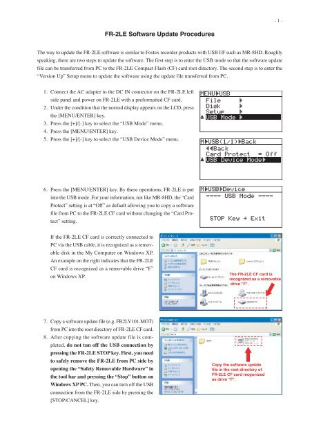 FR-2LE Software Update Procedures - Fostex