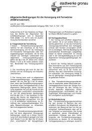 Allgemeine Bedingungen für die Versorgung mit Fernwärme ...