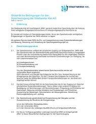 Wesentliche Bedingungen für den Speicherzugang - Stadtwerke Kiel