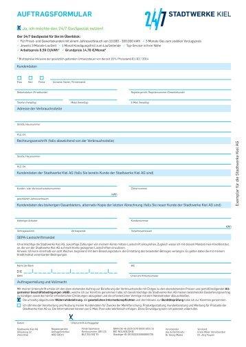 Auftragsformular 24/7 GasSpezial - Stadtwerke Kiel