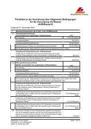 Preisblatt zur AVBWasserV - Stadtwerke Lünen