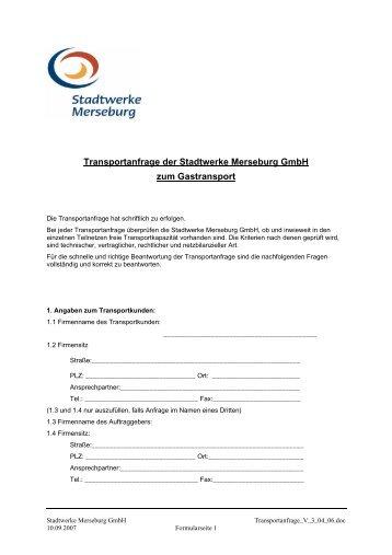 Transportanfrage - Stadtwerke Merseburg