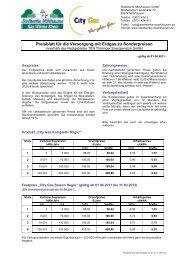 Preisblatt für die Versorgung mit Erdgas zu Sonderpreisen