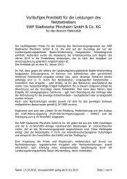 Vorläufiges Preisblatt für die Leistungen des Netzbetreibers SWP ...