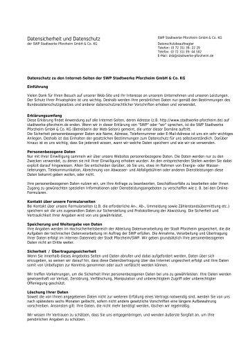 Datensicherheit und Datenschutz - Stadtwerke Pforzheim