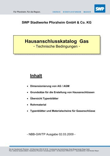 Hausanschlusskatalog Gas - Stadtwerke Pforzheim
