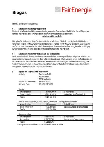 Anlage 3 Kontaktdaten - SWR Stadtwerke Reutlingen GmbH