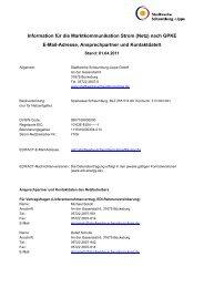 Kontaktdatenblatt gem. GPKE Strom - Stadtwerke Schaumburg-Lippe