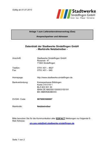 Anlage 1 Ansprechpartner - Stadtwerke Sindelfingen