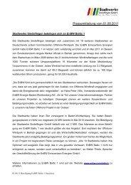 Pressemitteilung vom 01.08.2011 - Stadtwerke Sindelfingen