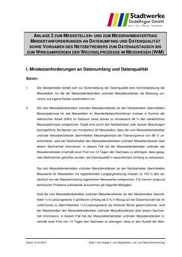 Anlage 2 Datenaustausch - Stadtwerke Sindelfingen