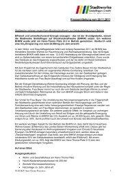 Pressemitteilung vom 29.11.2011 - Stadtwerke Sindelfingen