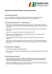 Ablauf Hausanschluss - Stadtwerke Sindelfingen