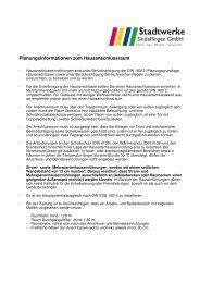 Merkblatt Planung Hausanschlussraum - Stadtwerke Sindelfingen