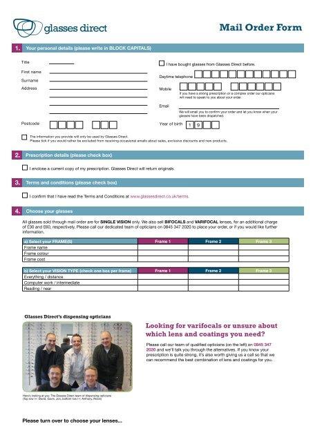 f4bbcb24274f Mail Order Form - Glasses Direct