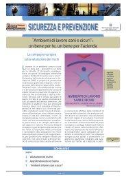 SICUREZZA E PREVENZIONE - Ministero del lavoro, salute e ...